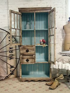 Painted Cottage Chic Shabby Handmade Farmhouse by paintedcottages, $695.00 Cupboard, Decorated Hutches, Blue, Vintag Decor, Hous, Cabinets Painted Inside, Antique Finish, Insid Paint, Cottag Decor