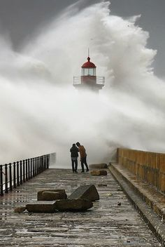 Huge Storm Waves Almost Swallow People in Portugal