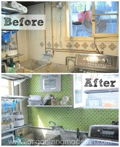 Use a stenciled pegboard to cover up an ugly wall. | 36 Genius Ways To Hide The Eyesores In Your Home