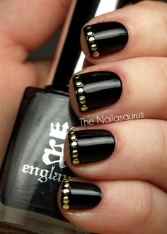 nails | black patent with gold studs polish