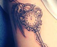 roman numerals, hidden peace sign, peacock feather hanging off? on L ribcage. hmmm kira.... Tattoo Ideas, Key Tattoos, Side Tattoo, Body Art, Skeletons Keys, Feathers, Clocks, Keys Tattoo, Ink