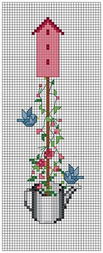 blue bird house in watering can free cross stitch pattern