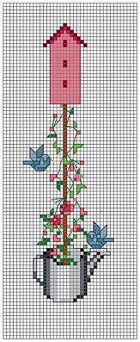 bird house - free cross stitch pattern