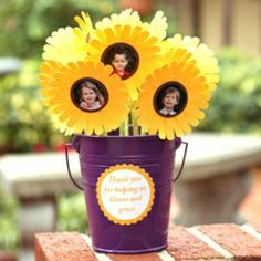 Create this thoughtful teacher appreciation bouquet that any teacher will love. Each sunflower center contains a different student photo. Includes free cut files.