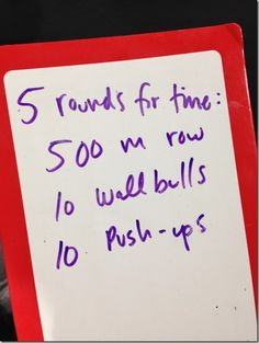 WOD: rowing, wallballs, push-ups