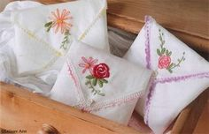 DIY: Embroidered Hankie Sachets Tutorial...has printables for the embroidery patterns and even a stitch guide for beginners, this is great!