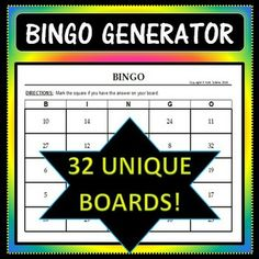 "Save yourself tons of time with this Bingo Board Generator! Simply input the 32 words/numbers/etc. you would like in your game boards, and the program will create 32 different boards - each using 24 of your 32 words, plus 1 Free Space. The boards are fully customizable, so feel free to make the title more specific (ie: World Capitols Bingo), rewrite the directions to apply to your activity (ie: ""Solve each system of equations. If you have the solution on your board, mark it off""), etc."