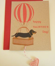 Teriyaki the Dachshund Hot Air Balloon Happy Valentine's by Cuore, $5.00