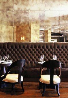 lovely restaurant, tufted banquette