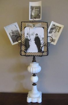 old lamp base turned photo / picture frame  .