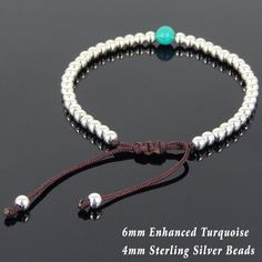 "Zen Yoga Meditation Healing Bracelet Protection, Spiritual, Grounding, Chakras, & Awareness - Handmade Adjustable Gemstone Bracelet - Made for Men & Women / All Genders - 6mm Natural High Quality Enhanced Turquoise - 4mm Genuine S925 Sterling Silver Seamless Beads - Strong Chinese Braided Cords - FREE Silver Polishing Cloth Drawstring adjustable Fits wrist size from 6.5""/16.51cm to 8""/20.32cm (adjustable to fit larger wrists) Here is how to measure your wrist *We go by wrist size and not the len"