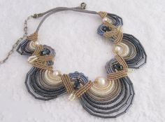Dark Blue gray blue off white and beige with fresh water pearl Macrame beaded necklace