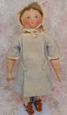 Antique Maggie Bessie Doll, Cloth Doll, Moravian Original Clothing, from ashleysdollsandantiquities on Ruby Lane
