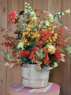 Fall Floral Arrangement in Wood Basket
