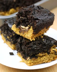 BEST RECIPE EVER.  Peanut butter cups stuffed between cookie dough and brownie. And it's actually healthy. Must pin!