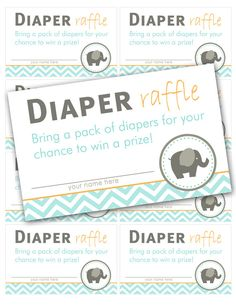 Diaper Raffle Tickets for Elephant themed Baby Shower, INSTANT DOWNLOAD on Etsy, $2.50