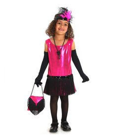 Pink Flapper Dress-Up Set - Girls