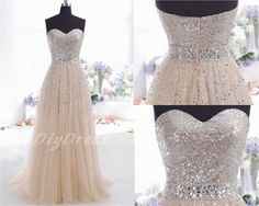 Sequins Lace Bodice Prom DressesBeaded Waistband Prom by DiyDress, $199.99