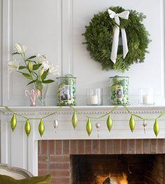 Hanging bulbs.  green christmas, photo displays, ornament, wreath, holiday decorating, garland, mantel decorations, christmas mantles, christmas mantels