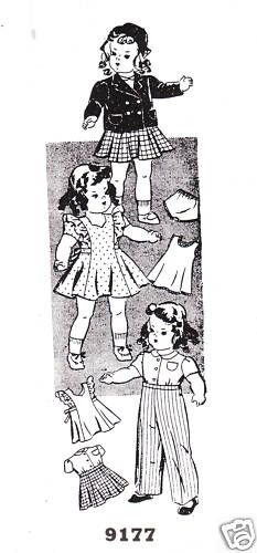 "16"" Vintage Year 1941 Chubby Doll Pattern 9177"
