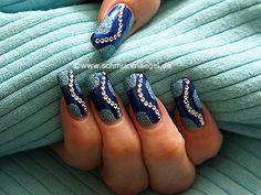 Nail art motivo 169 -  Motivo para las uñas con piedras strass en cristal -  http://www.schmucknaegel.de/
