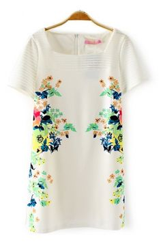 Hollow-out Sleeve Floral Printing Dress