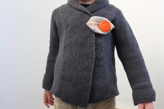 Direct Download PDF Knitting Pattern - Shawl Collar Baby or Toddler Coat - Simple Modern Sweater Pattern