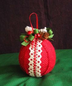 Christmas Ornament-Red Burlap Ornament-Lace and Pine Cone Ornament