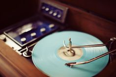 turquoise record player