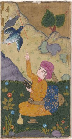 Persian miniature form 'Seven Paintings of Figures in Landscapes.'  Iran. paintings early 1600s. calligraphy 1587.