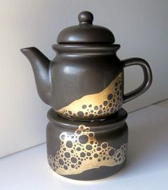 SALE little TEAPOT and WARMER brown and gold one by ArtOnPorcelain, $39.00