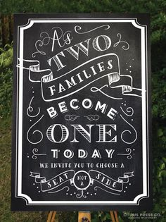 Wedding Seating Sign Chalkboard style 18x24 by CitrusPressCo