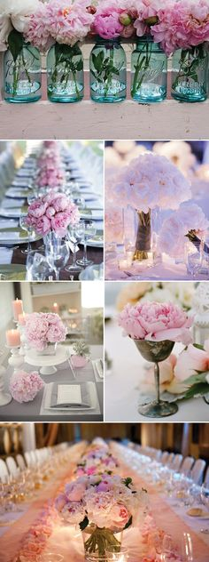 table settings, blue mason jars, pink flowers, centerpiec, soft pink, soft colors, pale pink, wedding flowers, pink peonies