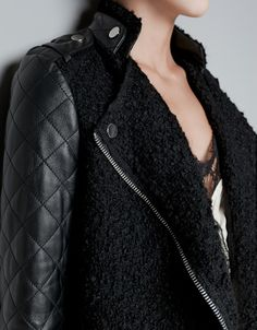 Zara coat with quilted leather sleeves $229