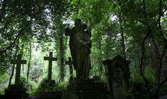 fairies, dark places, cemetery statues, london, green, highgat cemeteri, gates, angel statues, graveyard