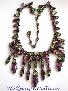 1954 Huge DRiPPY Hollycraft Open Back Necklace 2 Die 4