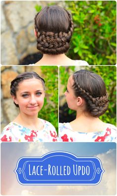 Lace-Rolled Updo Hairstyle  #CGH #CuteGirlsHairstyles #Updo #braids #hairstyles #hairstyle #prom #weddinghair