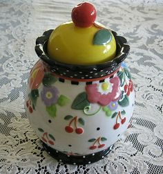 MARY ENGELBREIT JAR COOKIE JAR CHERRIES FLOWERS POKA DOTS on eBay!