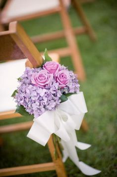 Aisles chairs, colors, bouquets, bows, florals, atlanta, bridal chair flowers, garden weddings, botanical gardens