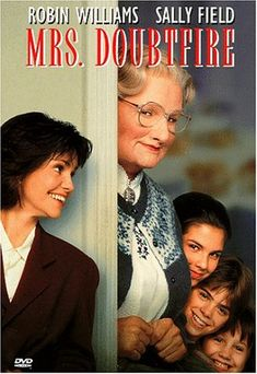 Mrs. Doubtfire (1993) - Loving but irresponsible dad Daniel Hillard (Robin Williams), estranged from his exasperated spouse (Sally Field), is crushed by a court order allowing only weekly visits with his kids. When Daniel learns his ex needs a housekeeper, he gets the job -- disguised as an English nanny. Soon he becomes not only his children's best pal but the kind of parent he should have been from the start. Not surprisingly, the film won an Oscar for Best Makeup.