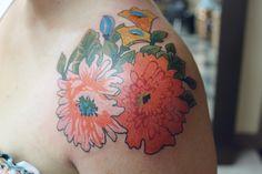 tattoo flowers, watercolor tattoos, vintag flower, a tattoo, flower tattoos, shoulder tattoos, floral tattoos, tattoo ink, vintage flowers
