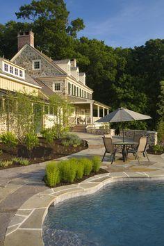 Pool Ideas. I am loving the stone work.