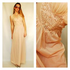 Beautiful Vintage VTG Nightgown Lingerie Slip Dress Nightie Nighty Light Pink Feminine Lace Sheer Maxi Long Tank Small Medium