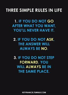 Application of these three rules will end up with something happening in your life!