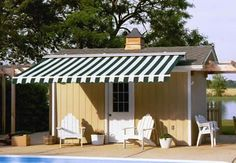 Retractable Awning on a Pool House!