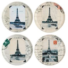 4 Piece Eiffel Tower Coasters, for my Paris room!