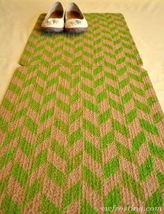 herringbone sponge painted rug
