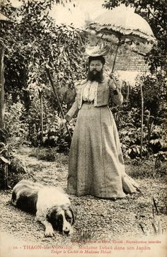bearded lady Clementine Delait with her dog, 1890s