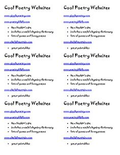 Little Handout of Poetry Websites for kids...