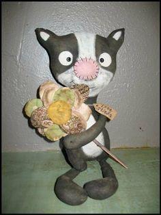 FTFD 26 - Prim Love Stinks - Valentine's Day Skunk - Primitive Old Rag Doll e-pattern